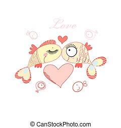 miłość, fish, vektor, oko