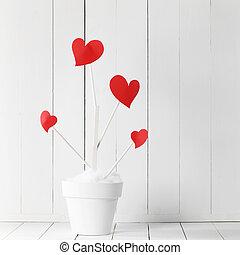 miłość, garnek, kwiat, drzewo