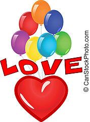 miłość, heart., ilustracja
