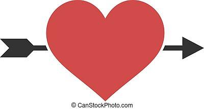 miłość, ikona, płaski