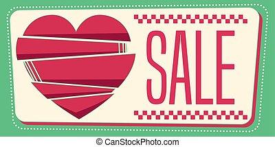 miłość, illustration., banner., 50, sprzedaż, skład, wektor,...