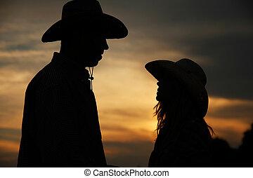miłość, kowboj, para, haystacks, młody, kapelusze