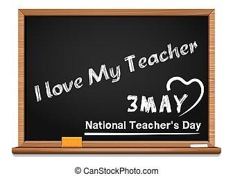 miłość, krajowy, may., day., 3, nauczycielstwo, mój, nauczyciel