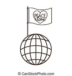 miłość, kula, pokój, odizolowany, bandera, ziemia, ikona