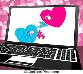 miłość, laptop, dwa, zobowiązanie, serca, widać
