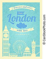 miłość, londyn, retro, rocznik wina, afisz