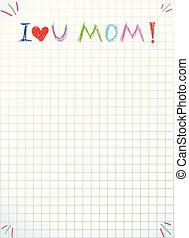 miłość, matki, zacytować, odizolowany, mom., ty, dzień, szczęśliwy