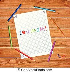 miłość, matki, zacytować, papier, mom., ty, dzień, szczęśliwy