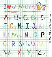 miłość, mommy, beletrystyka, dziewczyna, tęcza, styl, nagłówek, doodle, załatwiony, odizolowany, koźle, pociągnięty, ty, obraz, barwny, ilustracja, ręka, notatnik, mamusia, niemowlę, sketchy, wektor, alfabet, malarstwo, strona