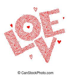 miłość, ozdoba, projektować, kwiatowy, słowo, twój