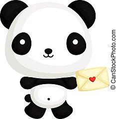 miłość, panda, litera