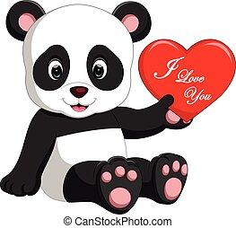 miłość, panda, rysunek