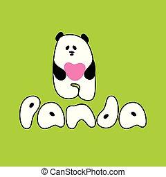 miłość, panda, szablon