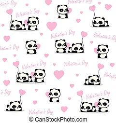 miłość, panda, valentine