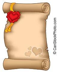 miłość, pergamin