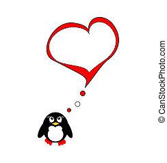 miłość, pingwin