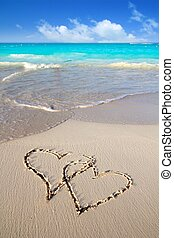 miłość, pisemny, piasek, serca, karaibska plaża