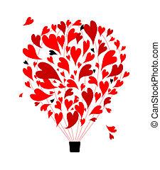 miłość, pojęcie, balloon, powietrze, projektować, serca,...