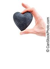 miłość, pojęcie, -, samicza ręka, dzierżawa, serce