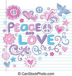 miłość, &, pokój, sketchy, wektor, doodles