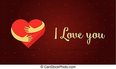 miłość, powitanie, ilustracja, valentine, tło., wektor, projektować, czerwony, serca, ty, lettering., dzień, karta