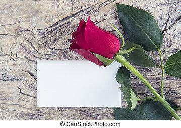 miłość, przestrzeń, róża, valentine, czysta wiadomość, dzień, czerwony