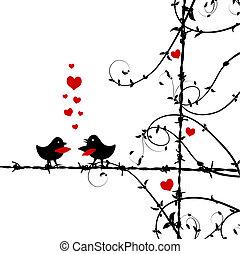 miłość, ptaszki, gałąź, całowanie
