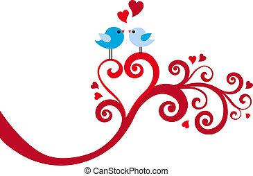 miłość ptaszki, z, serce, wir, wektor