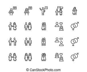 miłość, relations., znaki, doskonały, ikony, 64x64., set., ...
