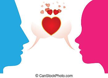 miłość, romantyczna para, młody, wyrażając, chattting