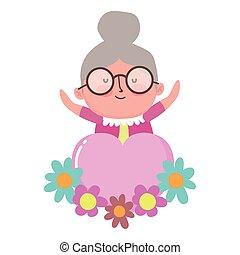 miłość, rysunek, dzień, dziadkowie, babcia, ozdoba, kwiaty, serce