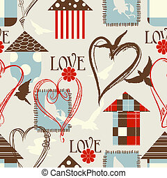 miłość, seamless, próbka, z, ptaszki, birdcages, i, serca
