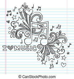 miłość, sketchy, wektor, muzyka, doodles