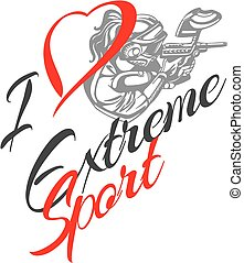 miłość, sport., paintball, -, ekstremum, gracz, wektor, ...