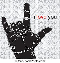 miłość, symboliczny, ilustracja, gestures., wektor, ty, ręka