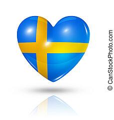 miłość, szwecja, serce, bandera, ikona
