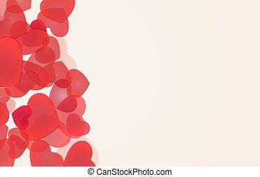 miłość, tła, czerwony, serca