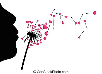 miłość, tło, dandelion., valentine