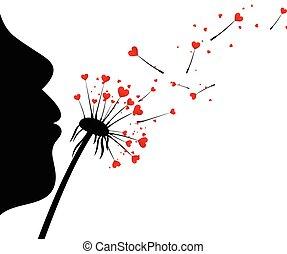 miłość, tło, dandelions., valentine