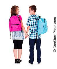 miłość, teenage, -, dzierżawa wręcza