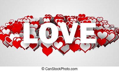 miłość, tekst, na, sercowe formy, pętla