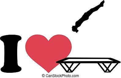 miłość, trampolina, sylwetka