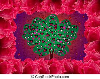 miłość, ułożony, drzewo, róża