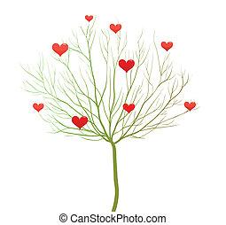 miłość, valentine, drzewo, wektor, projektować, dzień