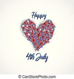 miłość, wektor, motyle, 4, serce, dzień, kolor, szczęśliwy, usa, logo, sieć, bandera, lipiec