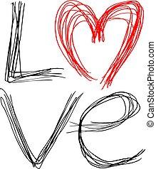 miłość, wiadomość, projektować, ładny