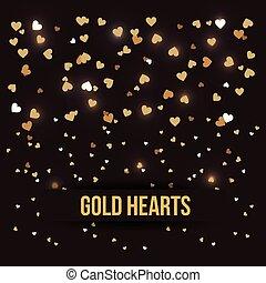 miłość, złoty, romans, czarnoskóry, luksus, tło, serca
