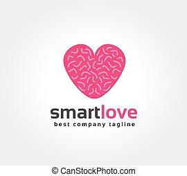 miłość, znakowanie, abstrakcyjny, logotype, mózg, wektor,...
