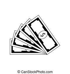 miłośnik, biały, dolar, banknot, czarnoskóry