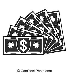 miłośnik, czarnoskóry, banknot, ikona
